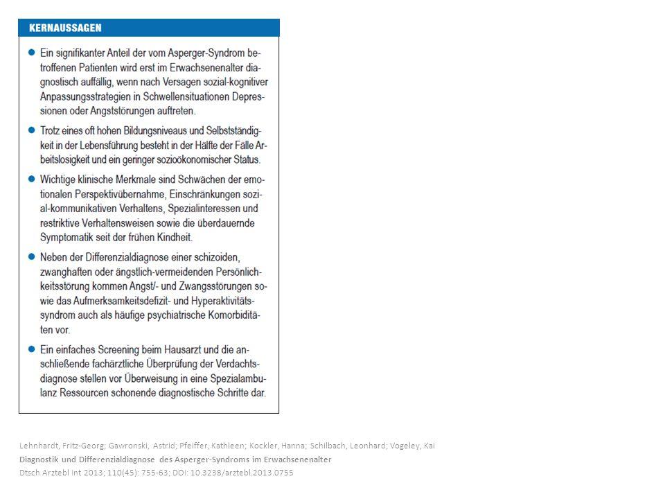 Lehnhardt, Fritz-Georg; Gawronski, Astrid; Pfeiffer, Kathleen; Kockler, Hanna; Schilbach, Leonhard; Vogeley, Kai Diagnostik und Differenzialdiagnose d