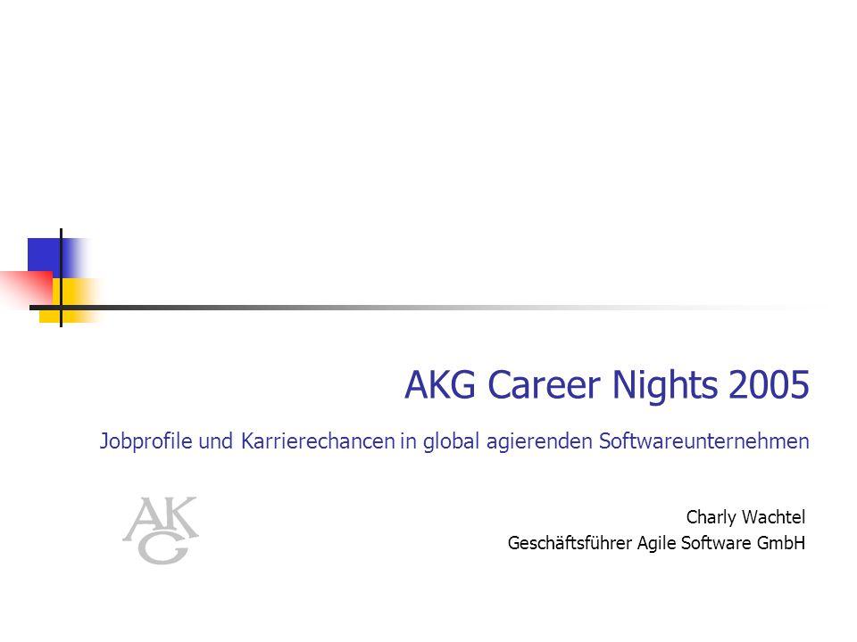 AKG Career Nights 2005 Jobprofile und Karrierechancen in global agierenden Softwareunternehmen Charly Wachtel Geschäftsführer Agile Software GmbH