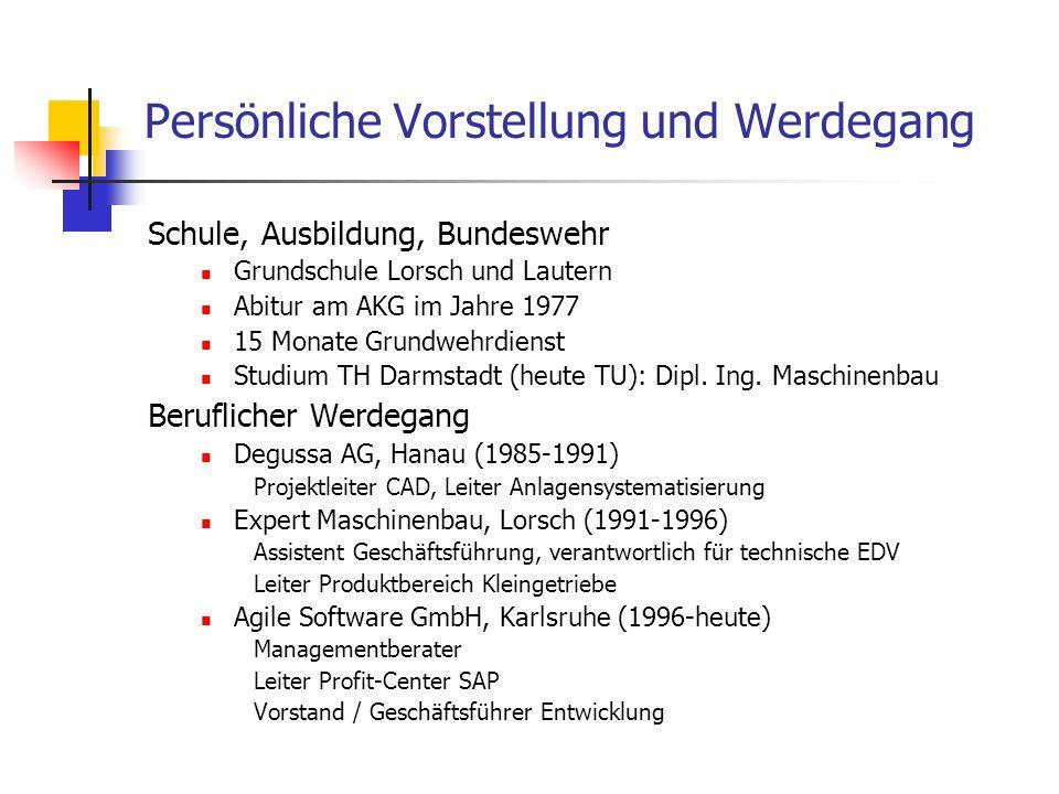 Schule, Ausbildung, Bundeswehr Grundschule Lorsch und Lautern Abitur am AKG im Jahre 1977 15 Monate Grundwehrdienst Studium TH Darmstadt (heute TU): D