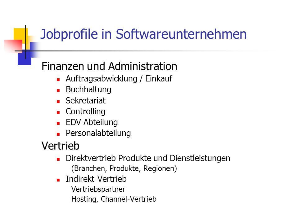 Finanzen und Administration Auftragsabwicklung / Einkauf Buchhaltung Sekretariat Controlling EDV Abteilung Personalabteilung Vertrieb Direktvertrieb Produkte und Dienstleistungen (Branchen, Produkte, Regionen) Indirekt-Vertrieb Vertriebspartner Hosting, Channel-Vertrieb Jobprofile in Softwareunternehmen
