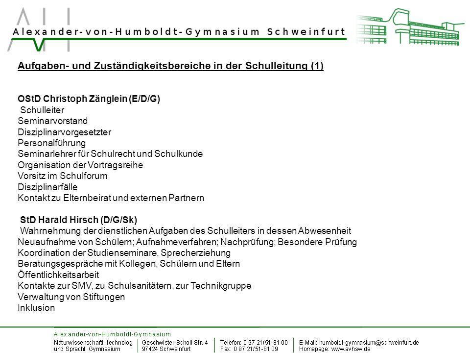 Aufgaben- und Zuständigkeitsbereiche in der Schulleitung (1) OStD Christoph Zänglein (E/D/G) Schulleiter Seminarvorstand Disziplinarvorgesetzter Perso