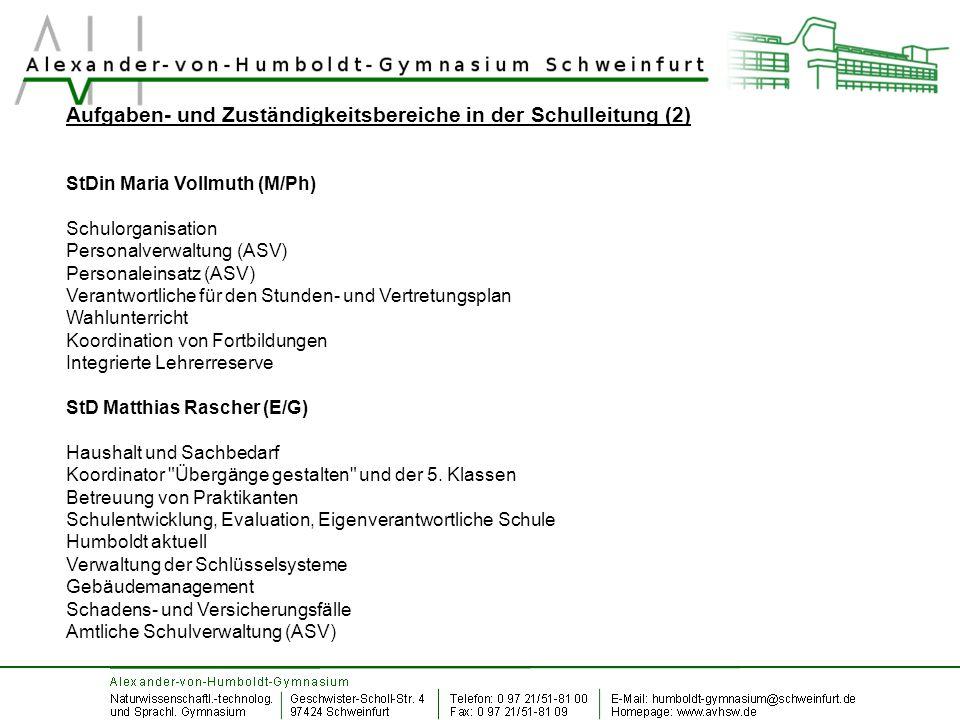 Aufgaben- und Zuständigkeitsbereiche in der Schulleitung (2) StDin Maria Vollmuth (M/Ph) Schulorganisation Personalverwaltung (ASV) Personaleinsatz (A