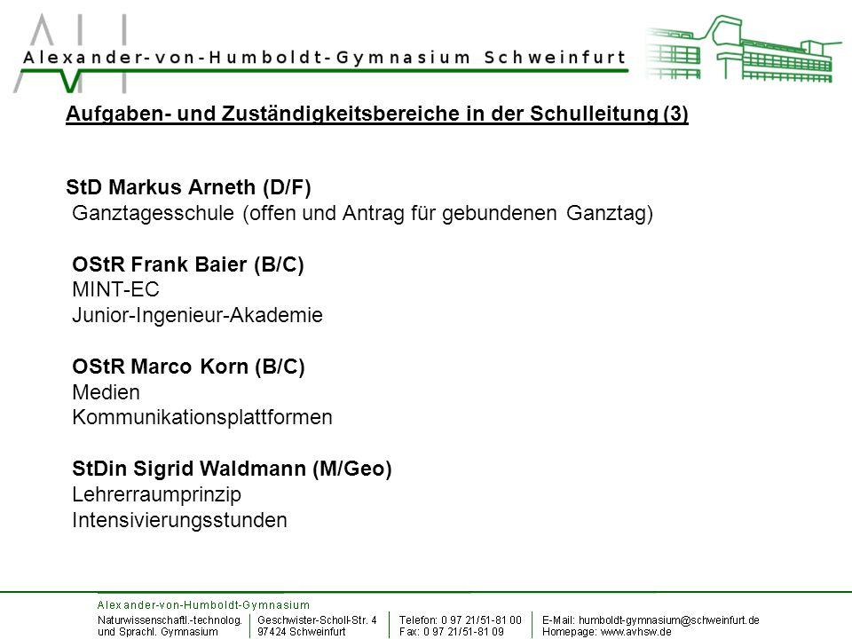 Aufgaben- und Zuständigkeitsbereiche in der Schulleitung (3) StD Markus Arneth (D/F) Ganztagesschule (offen und Antrag für gebundenen Ganztag) OStR Fr