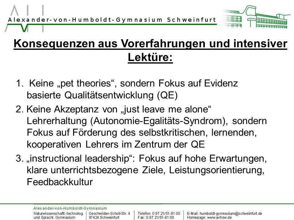 """Konsequenzen aus Vorerfahrungen und intensiver Lektüre: 1. Keine """"pet theories"""", sondern Fokus auf Evidenz basierte Qualitätsentwicklung (QE) 2. Keine"""