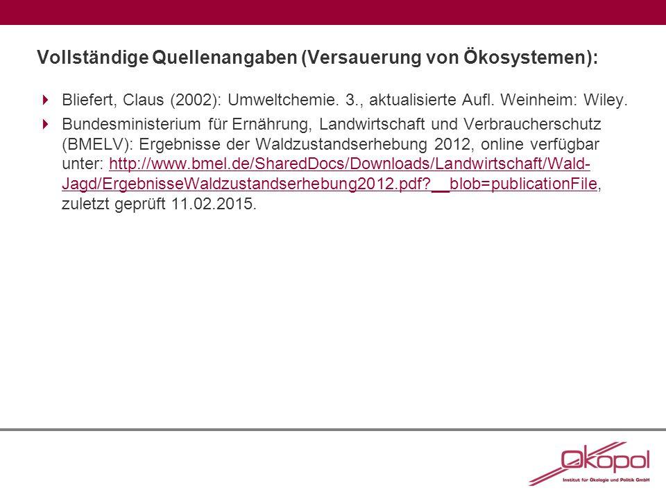 Vollständige Quellenangaben (Versauerung von Ökosystemen):  Bliefert, Claus (2002): Umweltchemie.