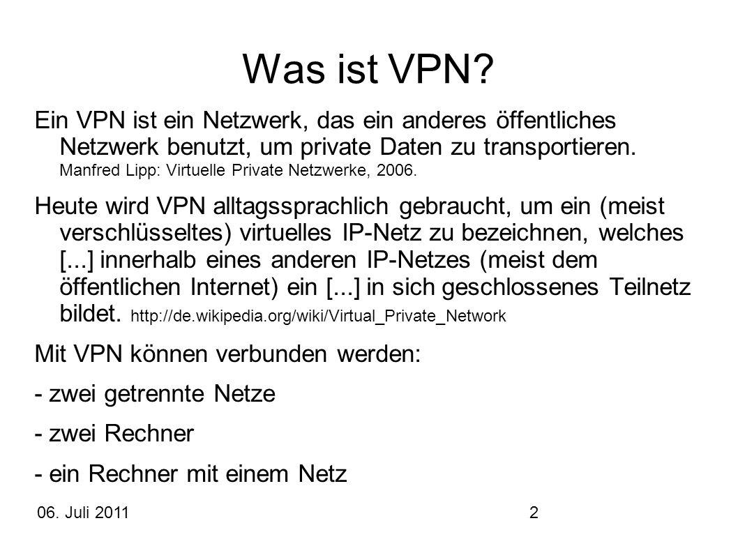 2 Was ist VPN? Ein VPN ist ein Netzwerk, das ein anderes öffentliches Netzwerk benutzt, um private Daten zu transportieren. Manfred Lipp: Virtuelle Pr