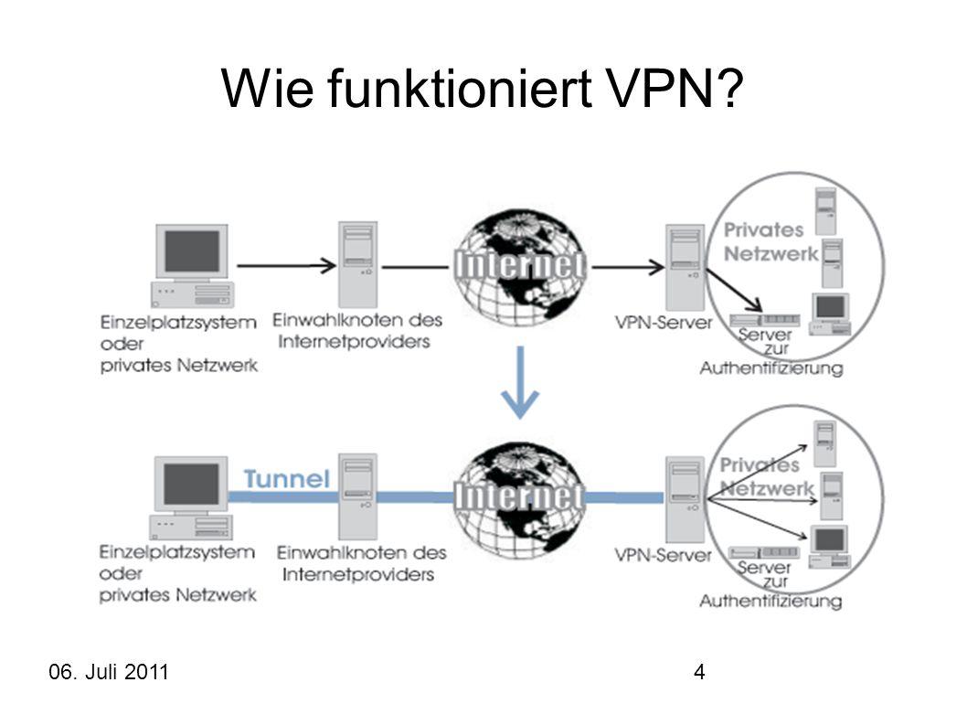 06. Juli 20114 Wie funktioniert VPN?