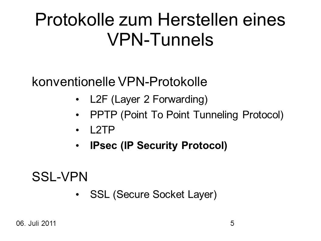 06. Juli 20115 Protokolle zum Herstellen eines VPN-Tunnels konventionelle VPN-Protokolle L2F (Layer 2 Forwarding) PPTP (Point To Point Tunneling Proto