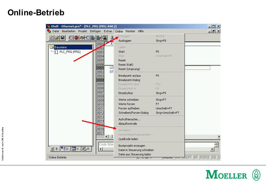 Schutzvermerk nach DIN 34 beachten Online-Betrieb