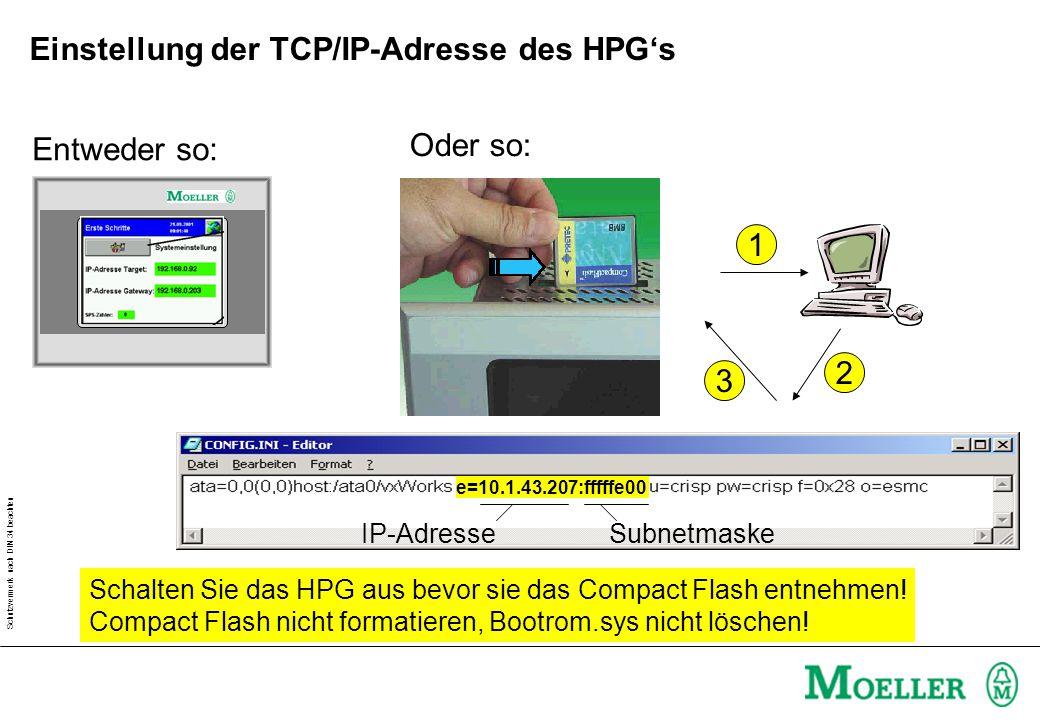 Schutzvermerk nach DIN 34 beachten Einstellung der TCP/IP-Adresse des HPG's Default- Projekt Entweder so: Oder so: e=10.1.43.207:fffffe00 1 2 3 Schalten Sie das HPG aus bevor sie das Compact Flash entnehmen.