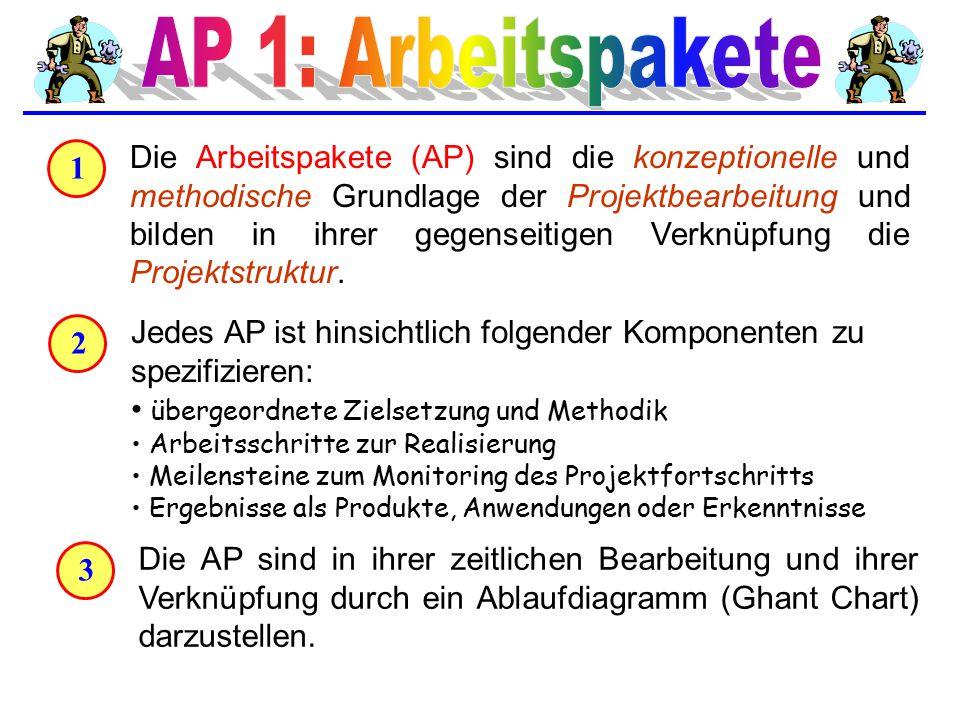 4 Die zeitliche Abarbeitung der AP (time table, flow chart) berücksichtigt nicht nur die zeitliche Abfolge, sondern auch die Verknüpfung der AP durch deren Ergebnisse (deliverables).
