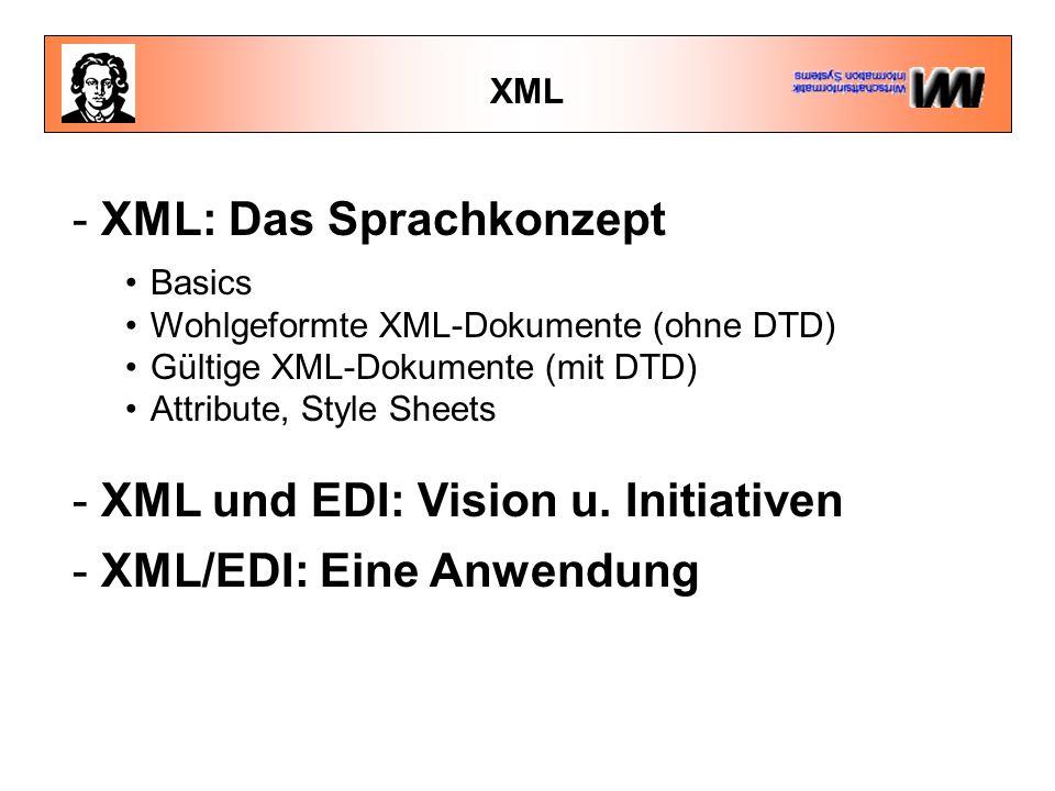 XML - XML: Das Sprachkonzept Basics Wohlgeformte XML-Dokumente (ohne DTD) Gültige XML-Dokumente (mit DTD) Attribute, Style Sheets - XML und EDI: Visio