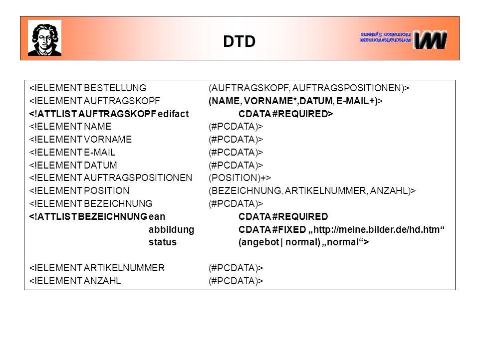 """DTD <!ATTLIST BEZEICHNUNGean CDATA #REQUIRED abbildung CDATA #FIXED """"http://meine.bilder.de/hd.htm"""" status(angebot   normal) """"normal"""">"""