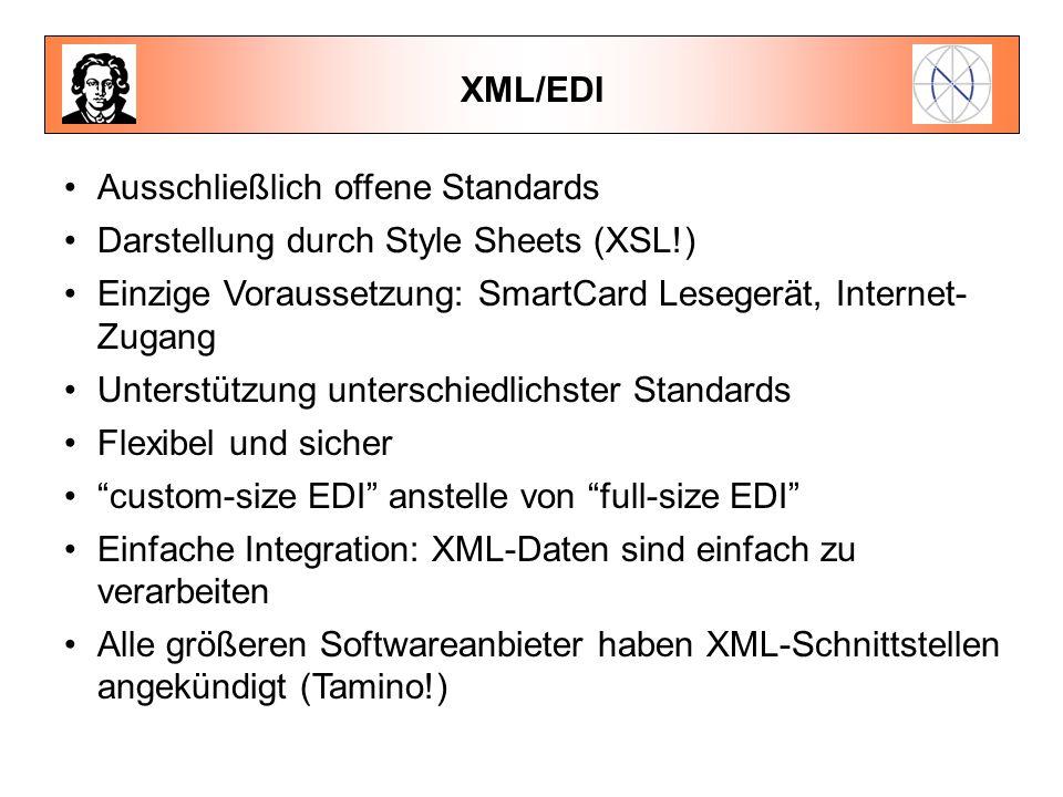 XML/EDI Ausschließlich offene Standards Darstellung durch Style Sheets (XSL!) Einzige Voraussetzung: SmartCard Lesegerät, Internet- Zugang Unterstützu