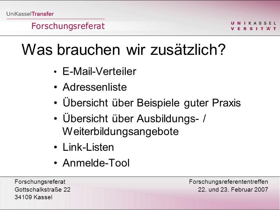 ForschungsreferatForschungsreferententreffen Gottschalkstraße 22 22.