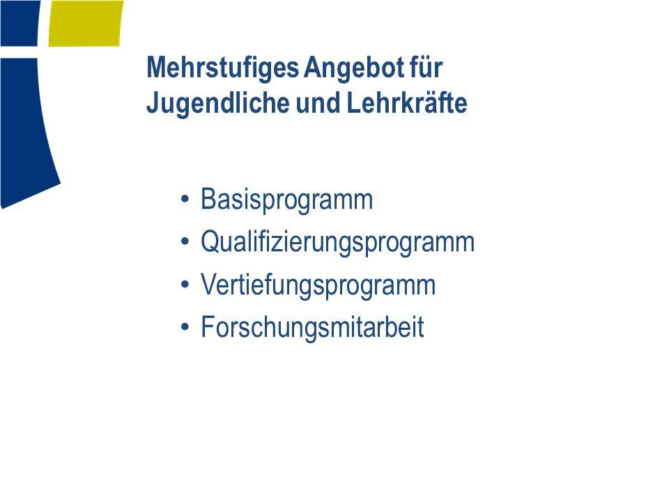 Mehrstufiges Angebot für Jugendliche und Lehrkräfte Basisprogramm Qualifizierungsprogramm Vertiefungsprogramm Forschungsmitarbeit