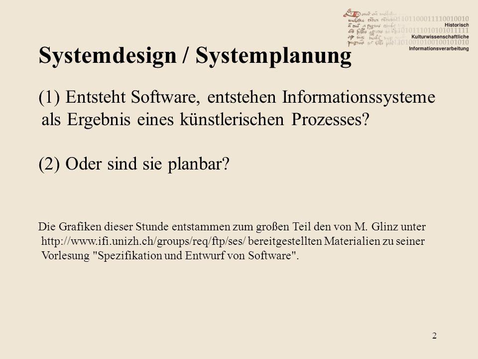 Systemdesign / Systemplanung 2 (1)Entsteht Software, entstehen Informationssysteme als Ergebnis eines künstlerischen Prozesses.