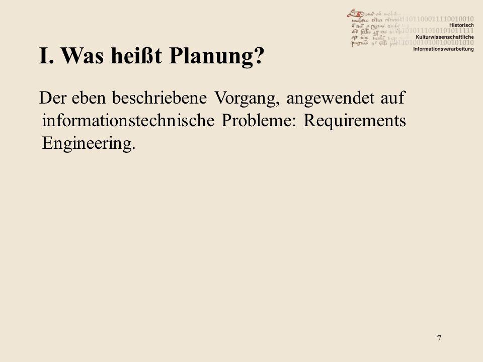 7 Der eben beschriebene Vorgang, angewendet auf informationstechnische Probleme: Requirements Engineering.
