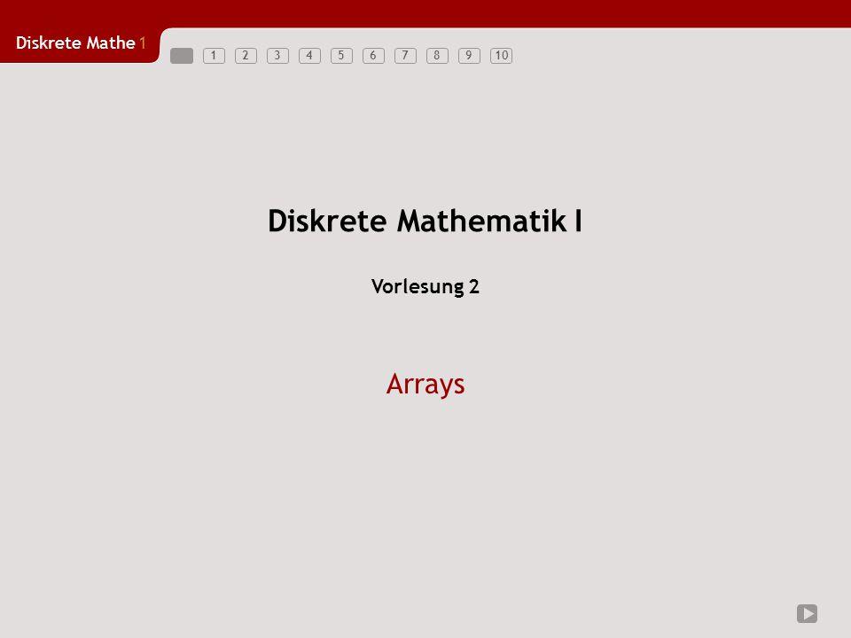 Diskrete Mathe1 123456789101 Arrays (am Beispiel von Java) Unterschiede in der Verwendung primitiver Datentypen/Arrays Arrays - beachte Zugriff Beispiele –Skalarprodukt –Multiplikation von Matrizen Anwendungsbeispiel für Matrizen: Drehung eines Punktes um den Ursprung Übersicht