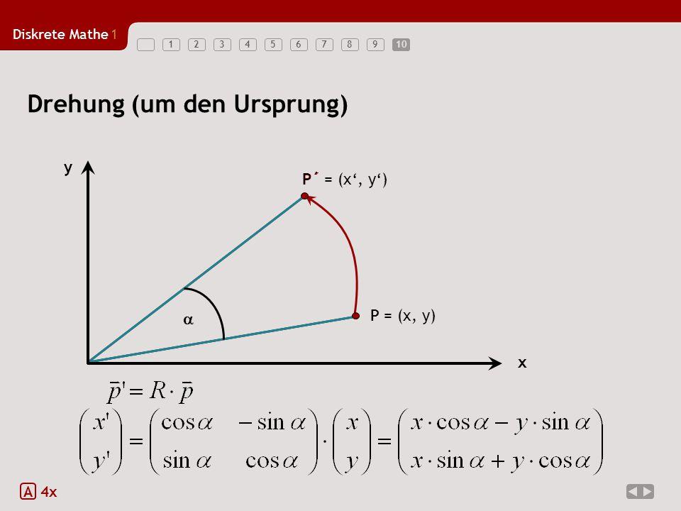 Diskrete Mathe1 12345678910 Drehung (um den Ursprung) A 4x x y P P´  P´ = (x', y') P = (x, y)