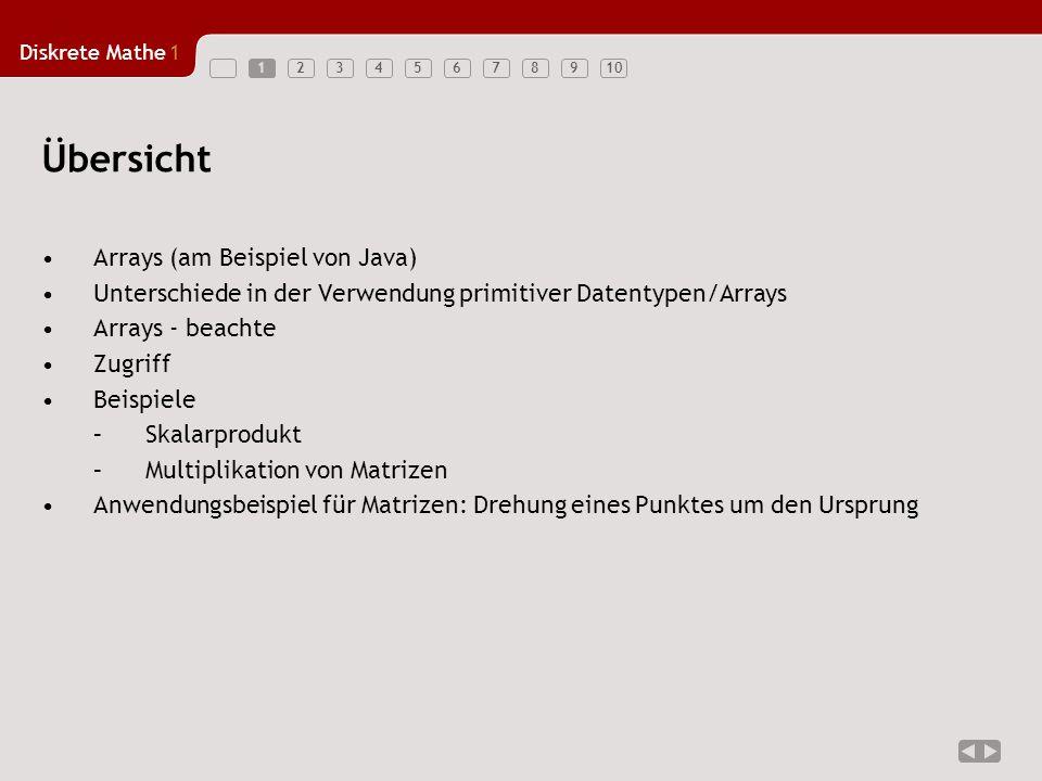 Diskrete Mathe1 123456789101 Arrays (am Beispiel von Java) Unterschiede in der Verwendung primitiver Datentypen/Arrays Arrays - beachte Zugriff Beispi