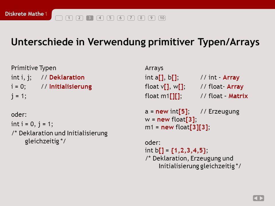 Diskrete Mathe1 123456789104 3 Schritte –Deklarieren –Erzeugen (Instanz bilden, Instanziieren) –Initialisierungen Im Unterschied zu Pascal –die Größe n des Arrays wird erst zum Zeitpunkt der Erzeugung (new double[3]) festgelegt Die Indizierung läuft von 0...