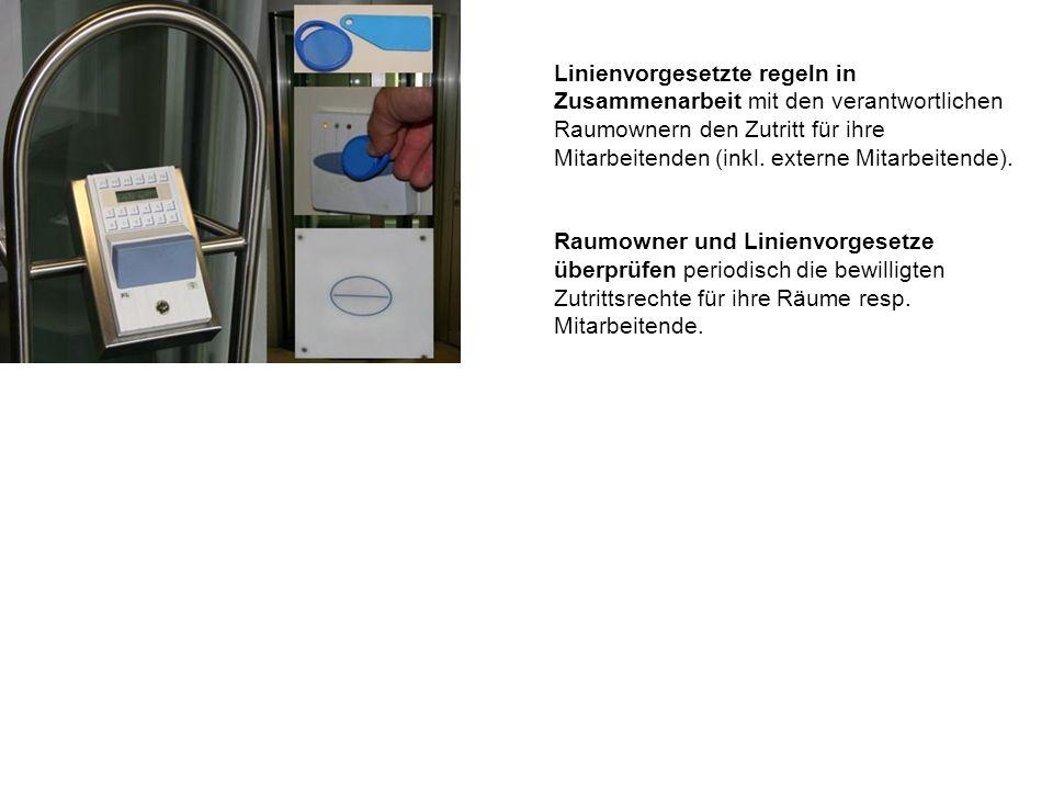 Linienvorgesetzte regeln in Zusammenarbeit mit den verantwortlichen Raumownern den Zutritt für ihre Mitarbeitenden (inkl.