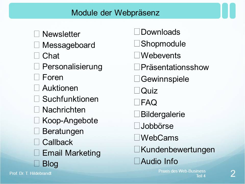 Logo Warenkorb Suchfeld Navigation Breadcrumb Seitennavigation Hauptinhalt der Webseite Fußzeile Impressum Aufbau der Webseite Praxis des Web-Business Teil 4 3 Prof.