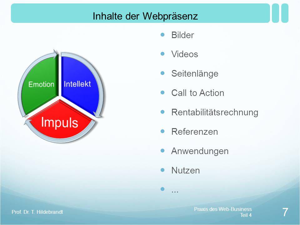 Bilder Videos Seitenlänge Call to Action Rentabilitätsrechnung Referenzen Anwendungen Nutzen...