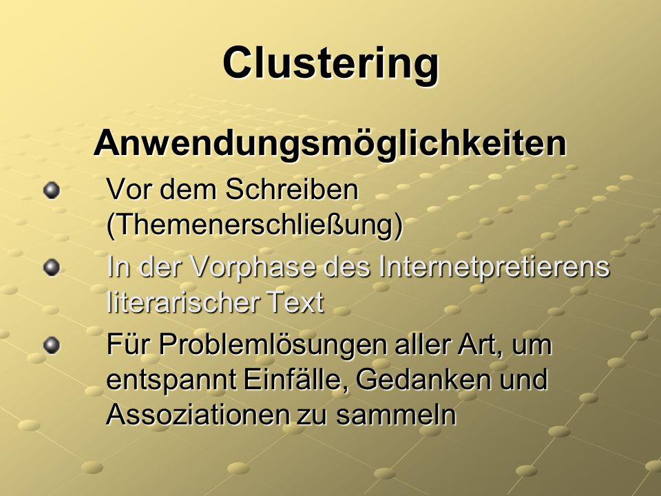 Clustering Anwendungsmöglichkeiten Vor dem Schreiben (Themenerschließung) Vor dem Schreiben (Themenerschließung) In der Vorphase des Internetpretieren