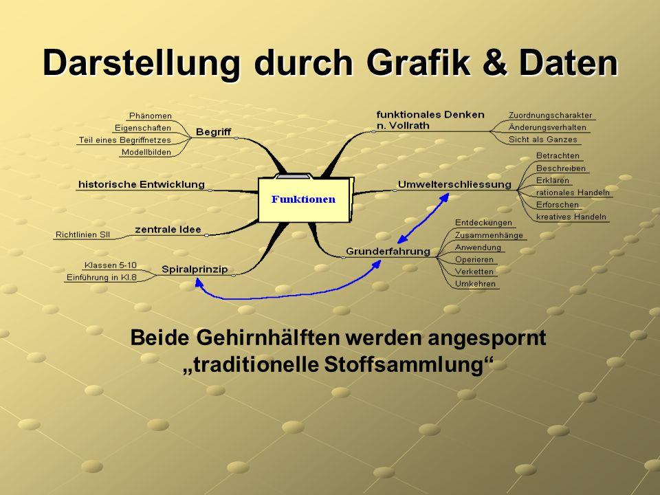 """Darstellung durch Grafik & Daten Beide Gehirnhälften werden angespornt """"traditionelle Stoffsammlung"""""""