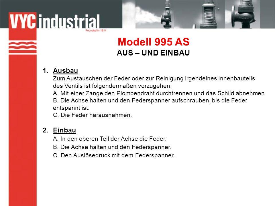 Modell 995 AS AUS – UND EINBAU 1.Ausbau Zum Austauschen der Feder oder zur Reinigung irgendeines Innenbauteils des Ventils ist folgendermaßen vorzugehen: A.