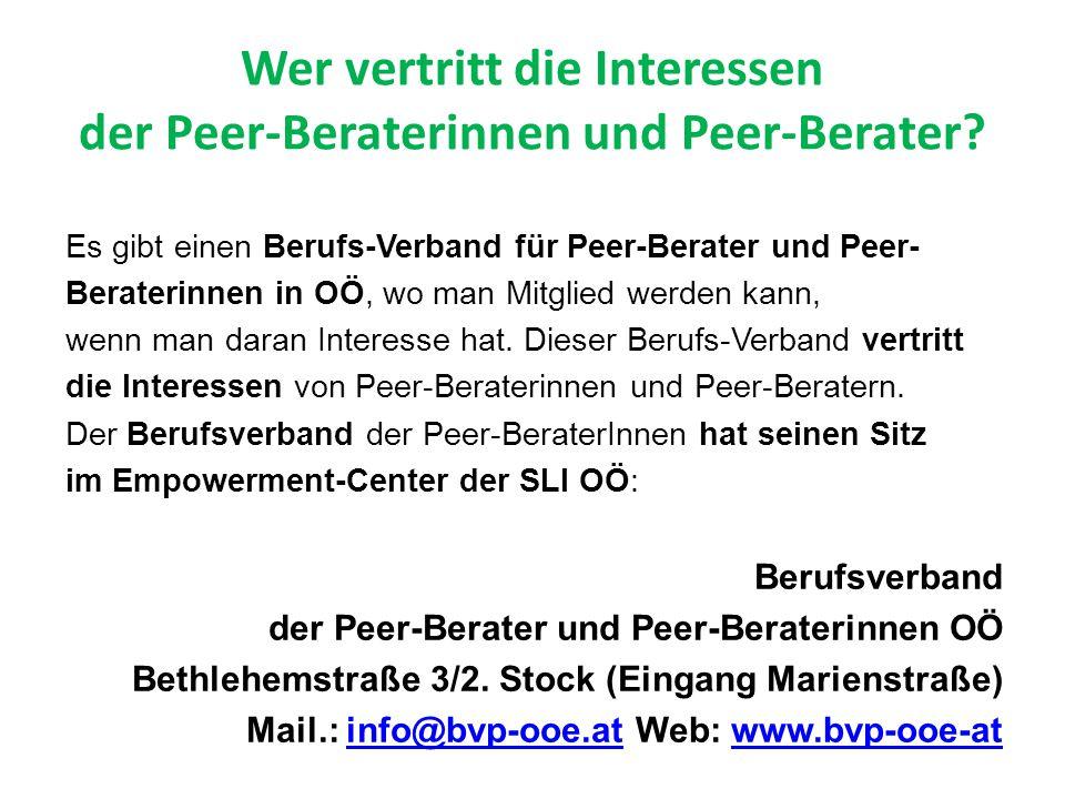 Wer vertritt die Interessen der Peer-Beraterinnen und Peer-Berater.