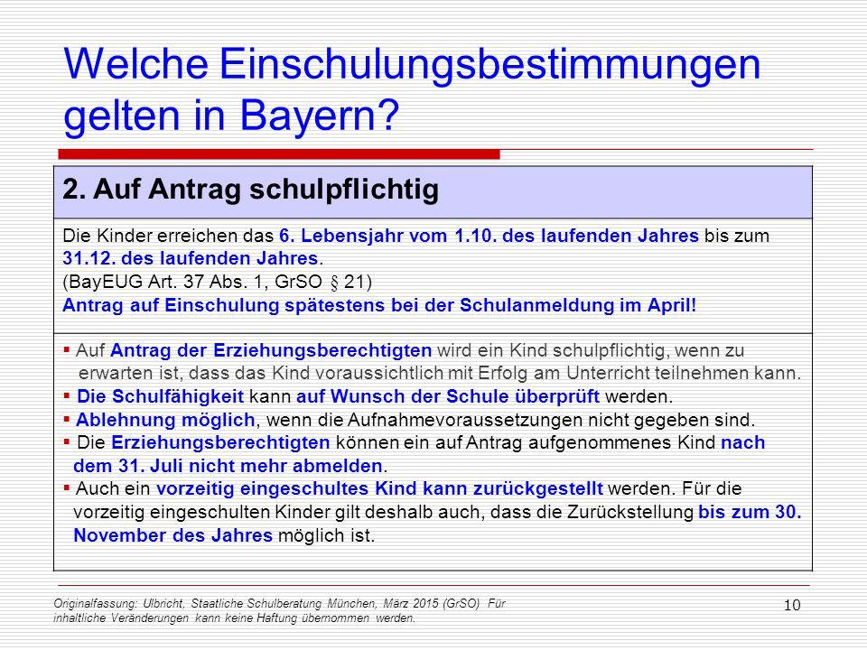 Originalfassung: Ulbricht, Staatliche Schulberatung München, März 2015 (GrSO) Für inhaltliche Veränderungen kann keine Haftung übernommen werden. 10 W