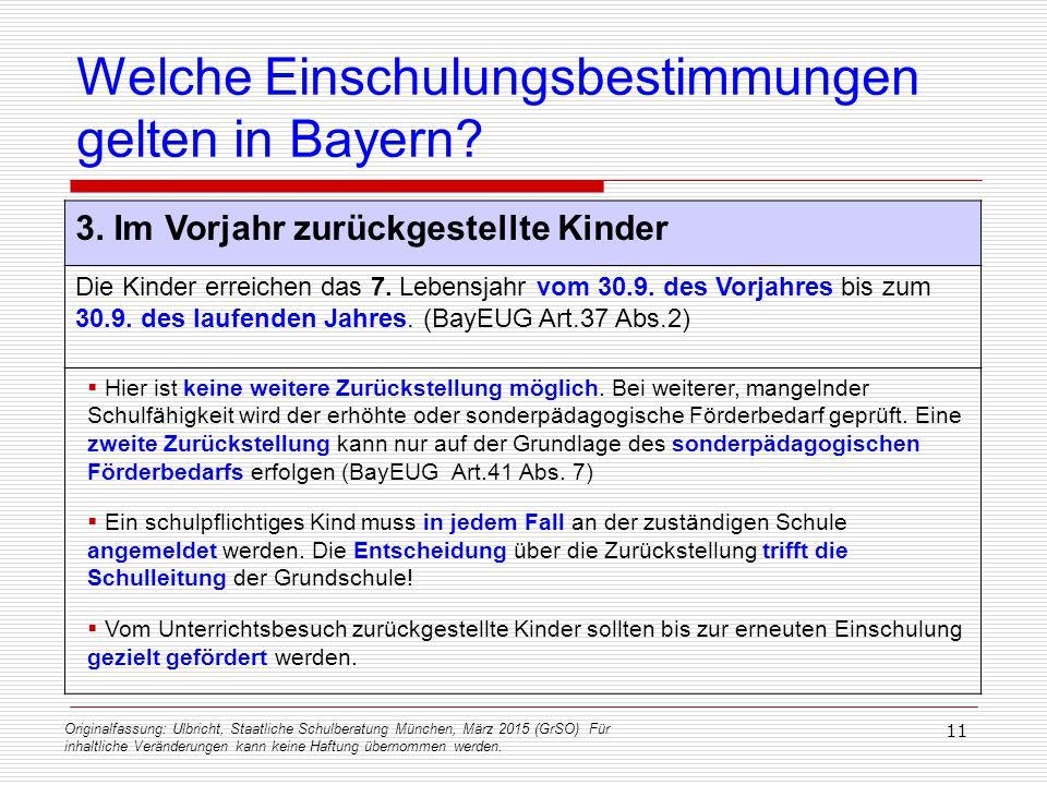 Originalfassung: Ulbricht, Staatliche Schulberatung München, März 2015 (GrSO) Für inhaltliche Veränderungen kann keine Haftung übernommen werden. 11 W