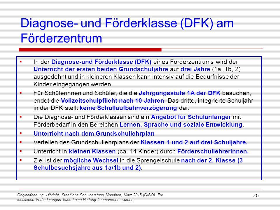 Originalfassung: Ulbricht, Staatliche Schulberatung München, März 2015 (GrSO) Für inhaltliche Veränderungen kann keine Haftung übernommen werden. 26 D