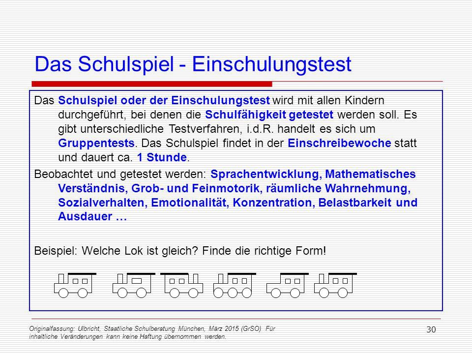 Originalfassung: Ulbricht, Staatliche Schulberatung München, März 2015 (GrSO) Für inhaltliche Veränderungen kann keine Haftung übernommen werden. 30 D