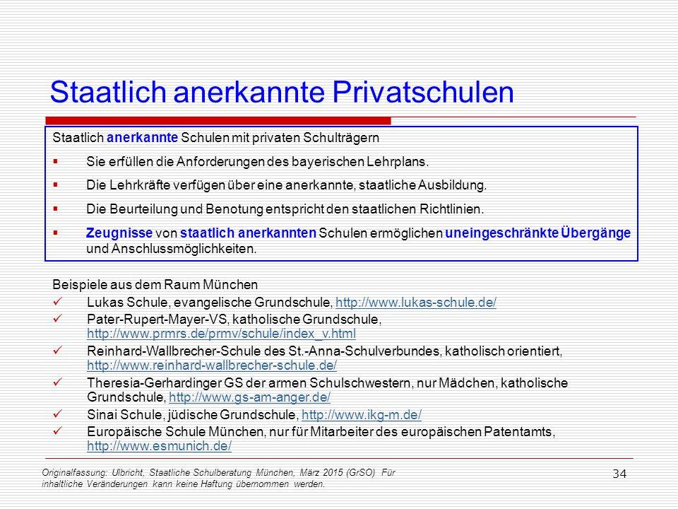 Originalfassung: Ulbricht, Staatliche Schulberatung München, März 2015 (GrSO) Für inhaltliche Veränderungen kann keine Haftung übernommen werden. 34 S
