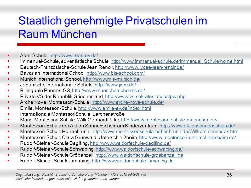 Originalfassung: Ulbricht, Staatliche Schulberatung München, März 2015 (GrSO) Für inhaltliche Veränderungen kann keine Haftung übernommen werden. 36 S