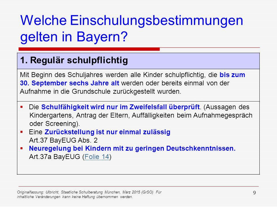 Originalfassung: Ulbricht, Staatliche Schulberatung München, März 2015 (GrSO) Für inhaltliche Veränderungen kann keine Haftung übernommen werden. 9 We