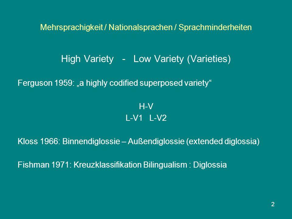 "Mehrsprachigkeit / Nationalsprachen / Sprachminderheiten High Variety - Low Variety (Varieties) Ferguson 1959: ""a highly codified superposed variety H-V L-V1 L-V2 Kloss 1966: Binnendiglossie – Außendiglossie (extended diglossia) Fishman 1971: Kreuzklassifikation Bilingualism : Diglossia 2"