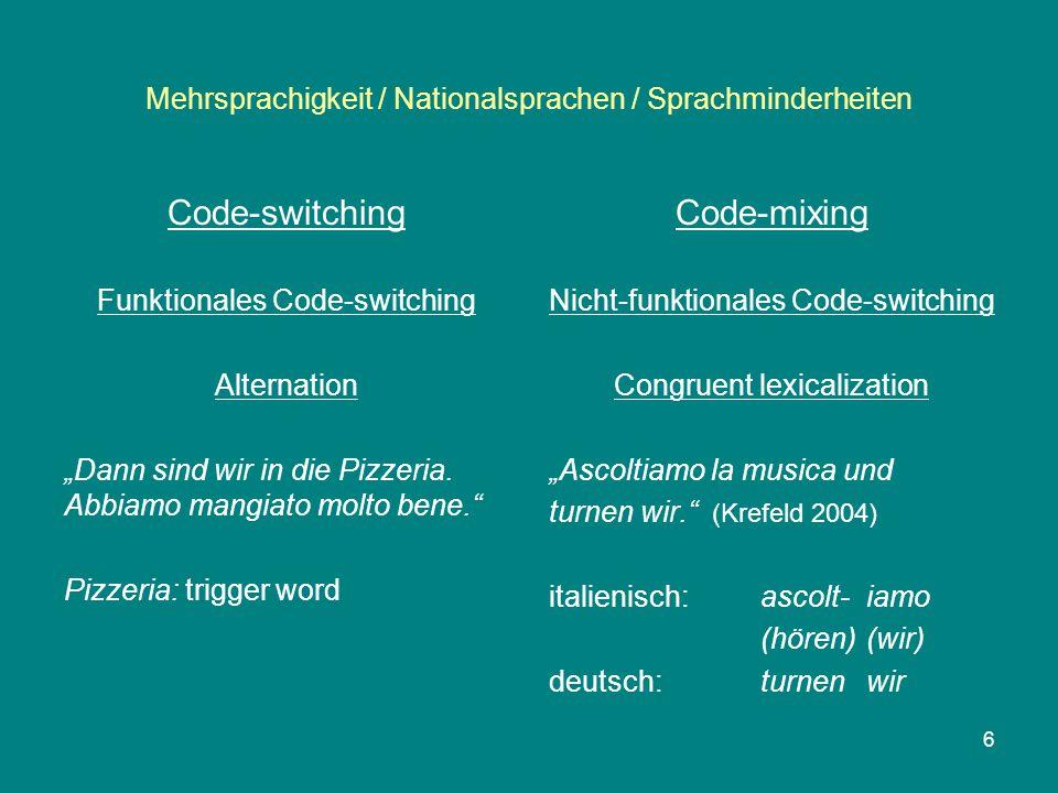 """Mehrsprachigkeit / Nationalsprachen / Sprachminderheiten Code-switching Funktionales Code-switching Alternation """"Dann sind wir in die Pizzeria."""