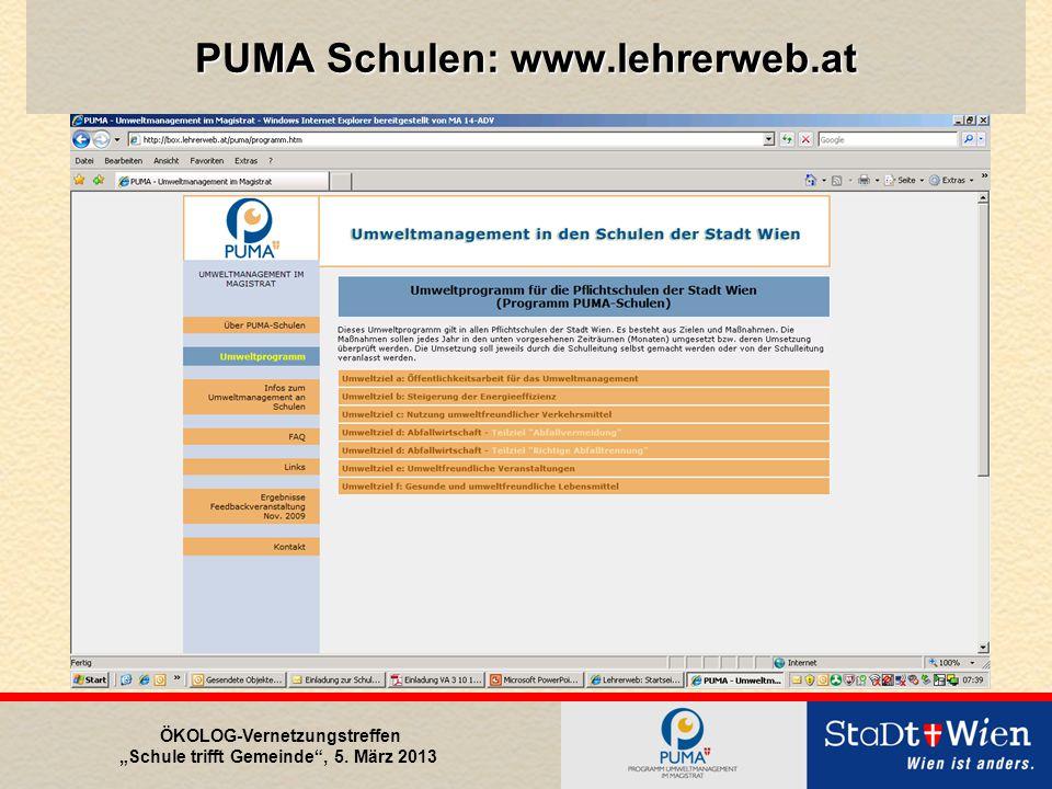 """ÖKOLOG-Vernetzungstreffen """"Schule trifft Gemeinde , 5. März 2013 PUMA Schulen: www.lehrerweb.at"""