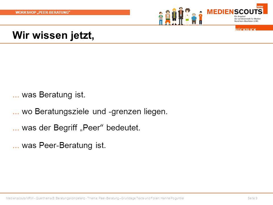 """Medienscouts NRW - Querthema B: Beratungskompetenz - Thema: Peer-Beratung –Grundlage Texte und Folien: Hanne Poguntke Seite 9 WORKSHOP """"PEER-BERATUNG Wir wissen jetzt,..."""