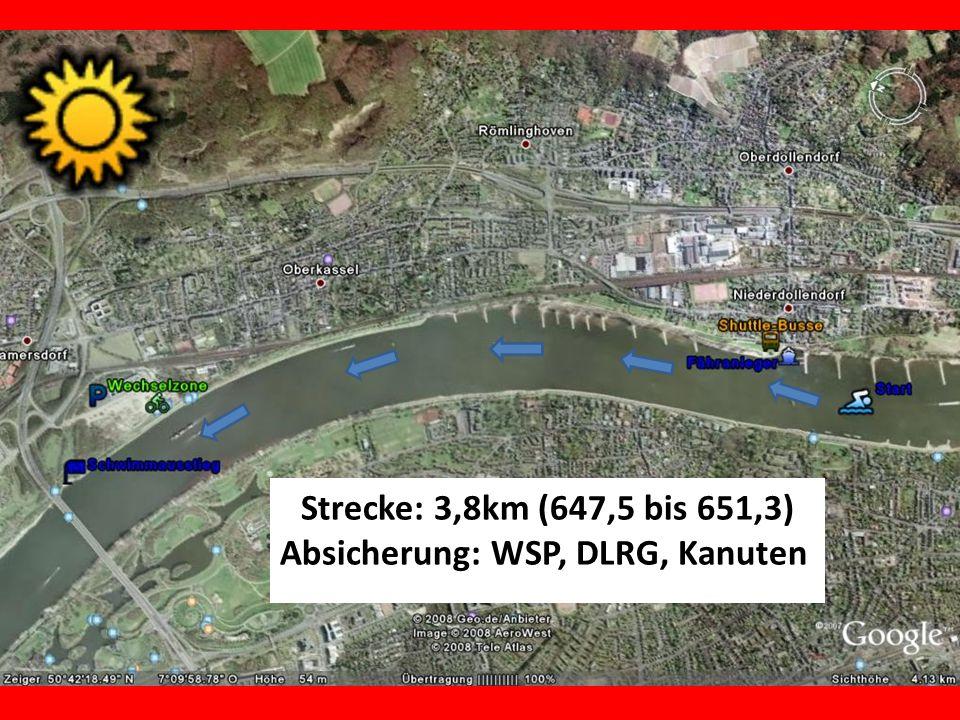 Strecke: 3,8km (647,5 bis 651,3) Absicherung: WSP, DLRG, Kanuten