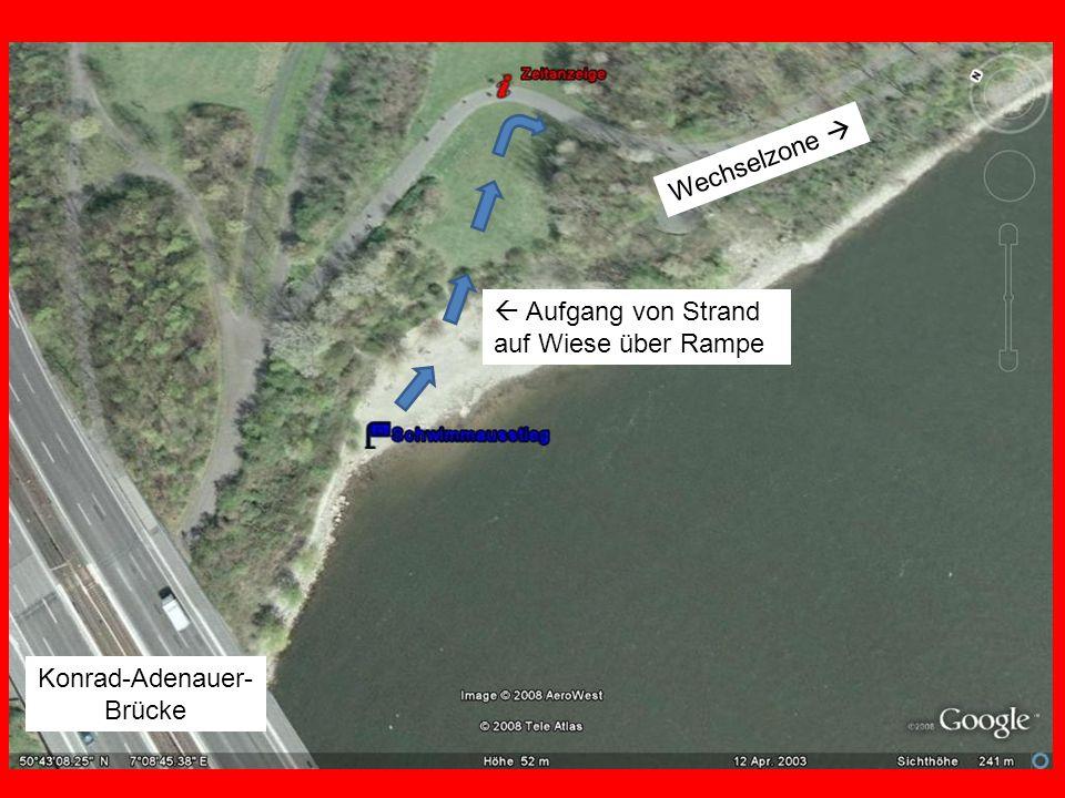 Wechselzone  Konrad-Adenauer- Brücke  Aufgang von Strand auf Wiese über Rampe