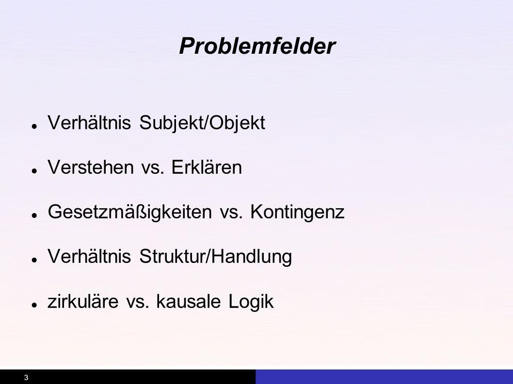 3 Problemfelder Verhältnis Subjekt/Objekt Verstehen vs. Erklären Gesetzmäßigkeiten vs. Kontingenz Verhältnis Struktur/Handlung zirkuläre vs. kausale L