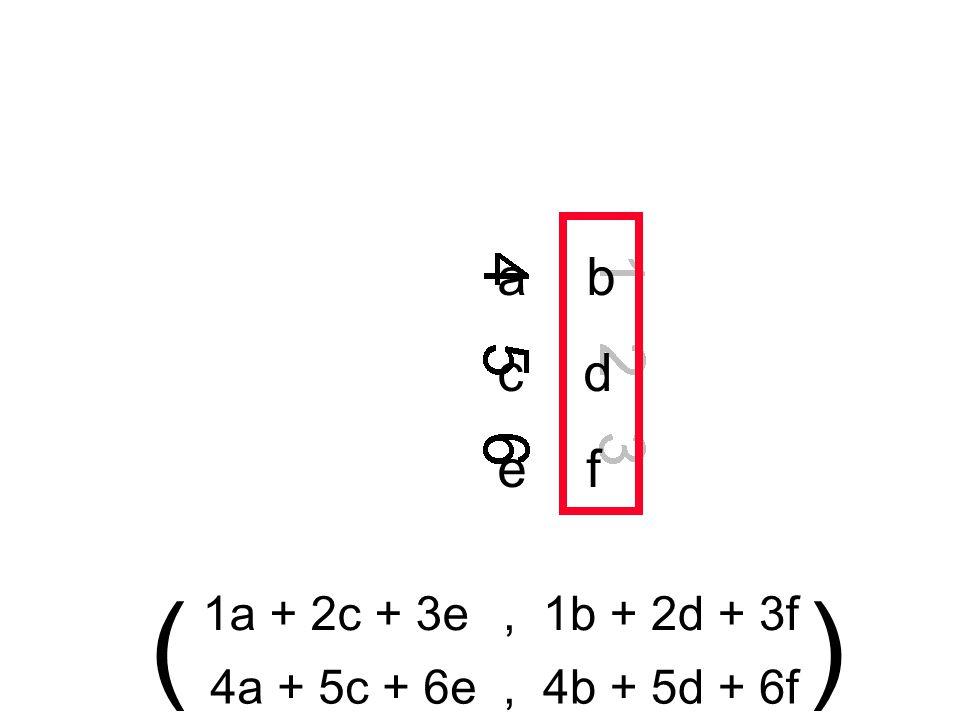 a b c d e f 1a + 2c + 3e, 1b + 2d + 3f 4a + 5c + 6e