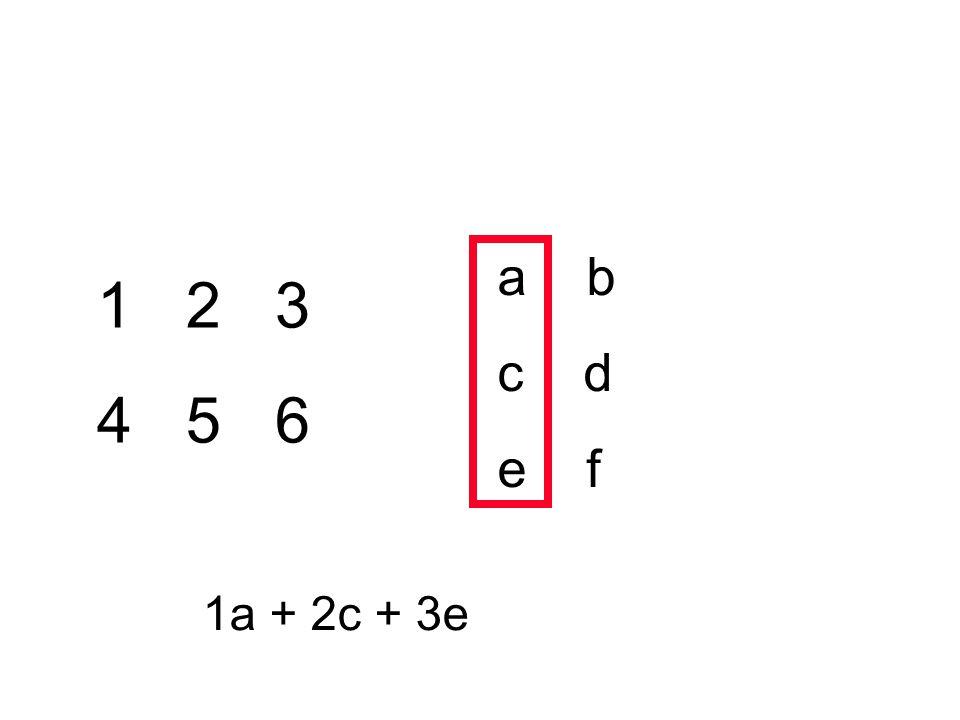 1 2 3 4 5 6 a b c d e f 1a + 2c + 3e