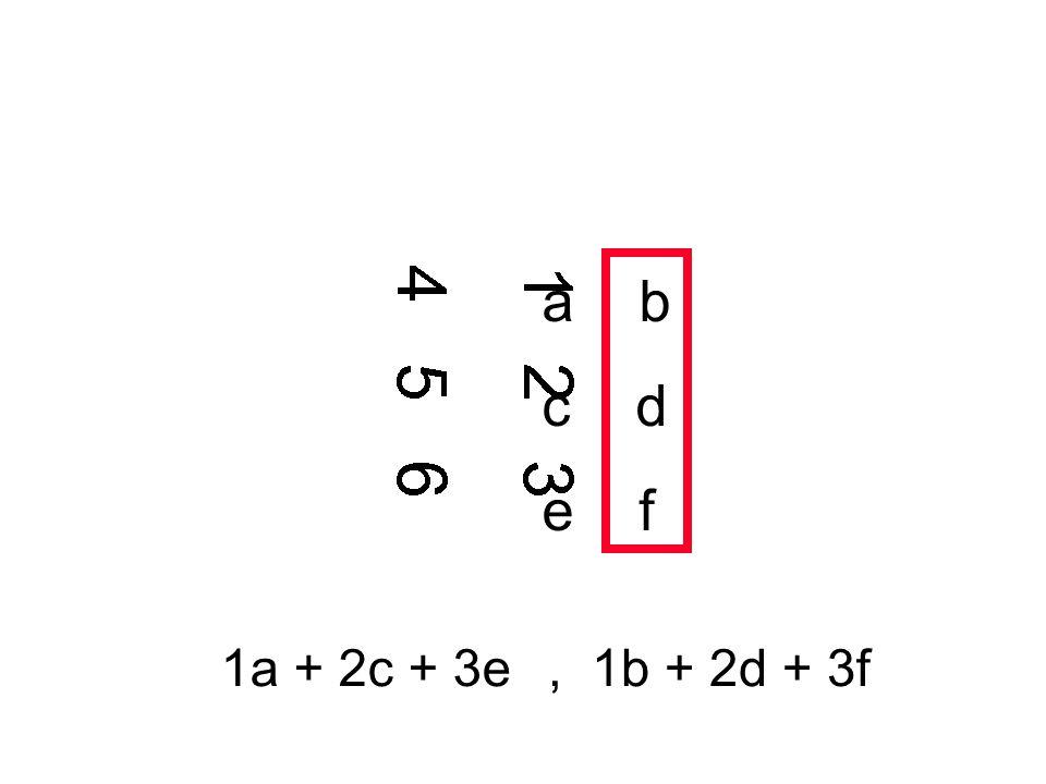 a b c d e f 1a + 2c + 3e, 1b + 2d + 3f